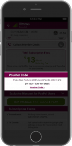 use voucher code to increase your Numero eSIM balance