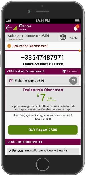 sélectionnez le mode de paiement et achetez un numéro virtuel à l'aide de l'application Numero eSIM