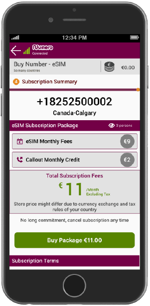 select the payment method and buy virtual number using Numero eSIM app