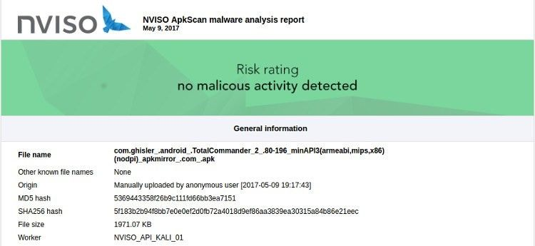NVISIO detects malware in APK files