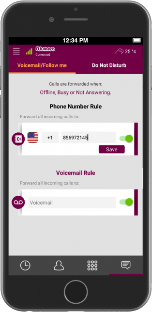 Voicemail and Call Forwarding features in Numero eSIM app