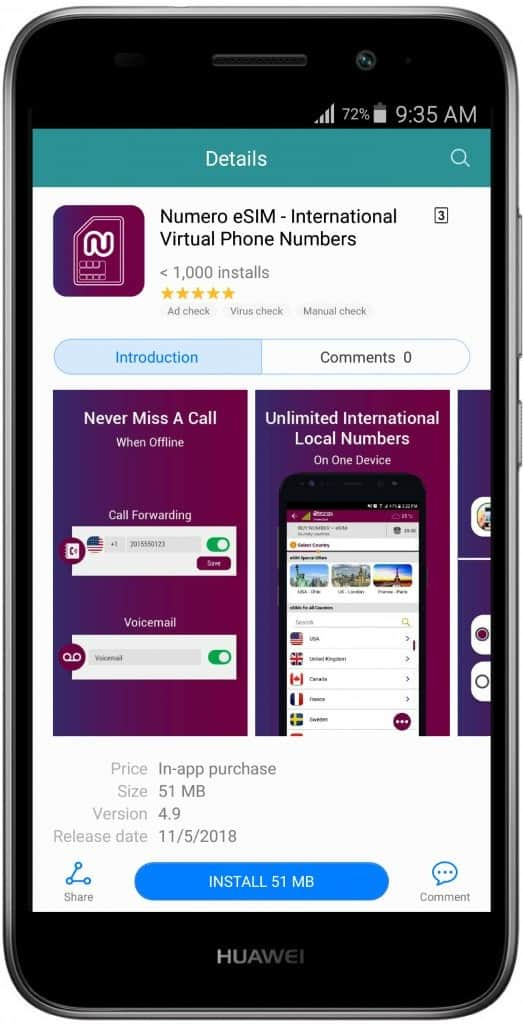 Buy Virtual Numbers Using Your Huawei Mobile Phone - Numero eSIM on AppGallery