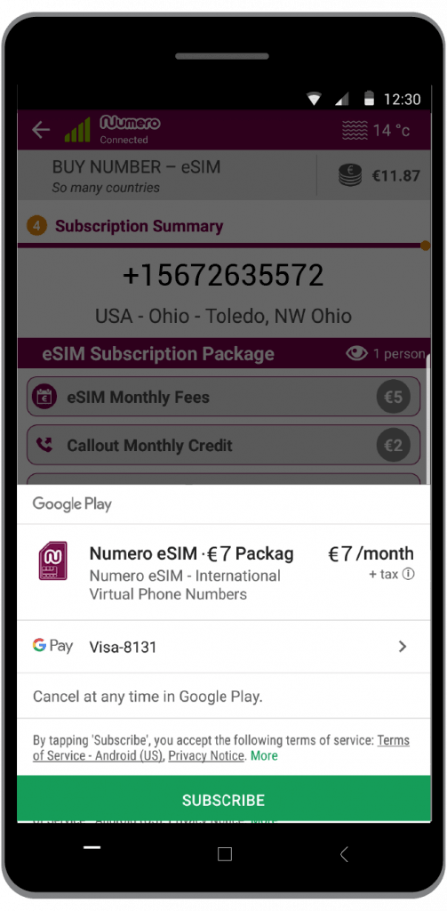 Subscribe to pay for the virtual number