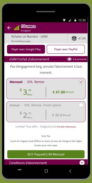 Comment payer avec Google Play - Acheter un forfait