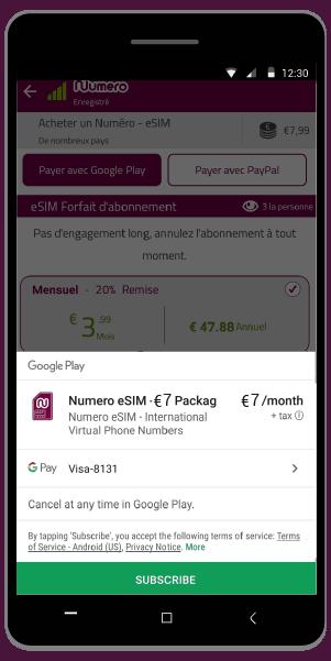 Abonnez-vous pour payer le numéro virtuel