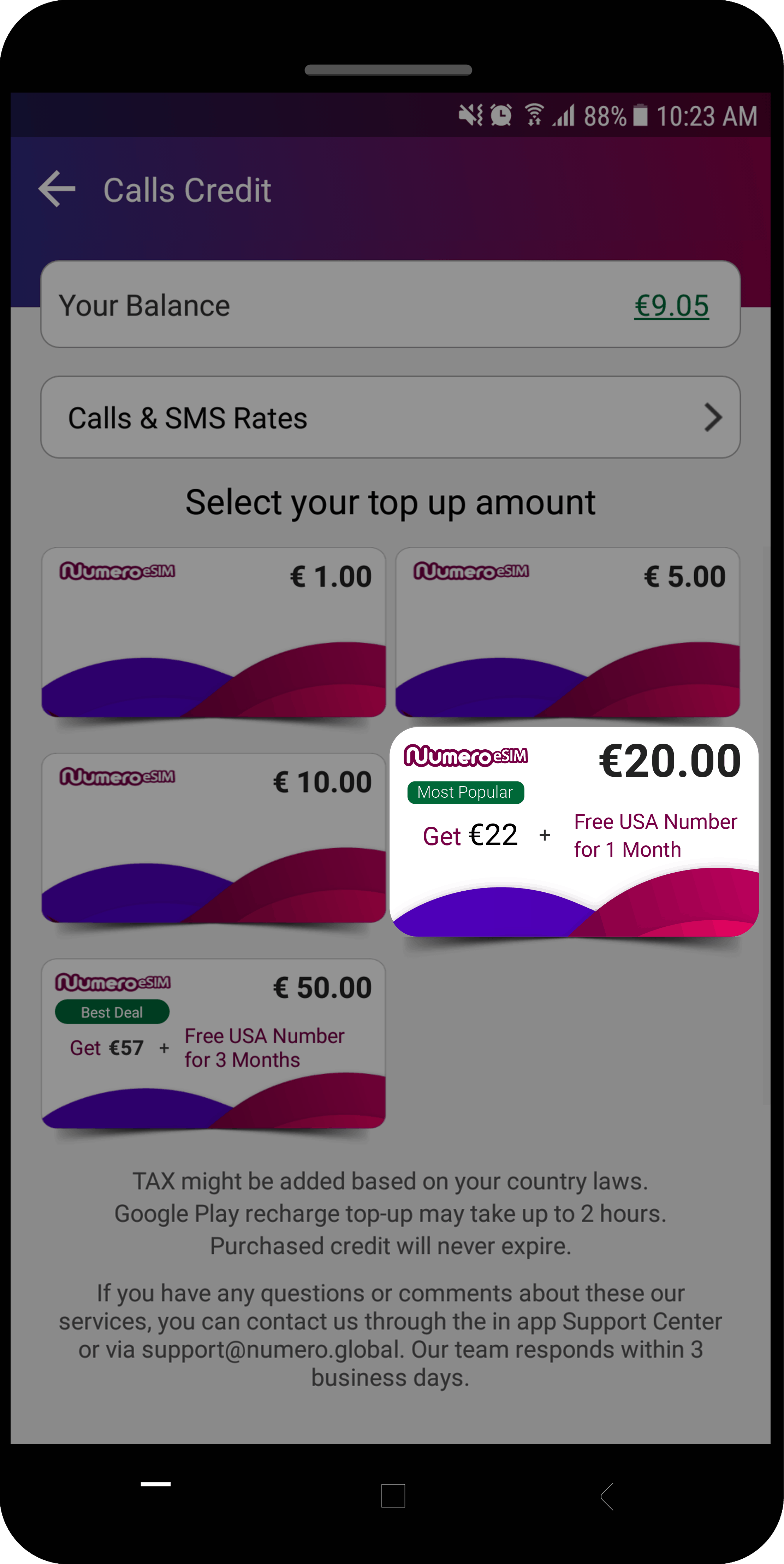 recharge €20 credit