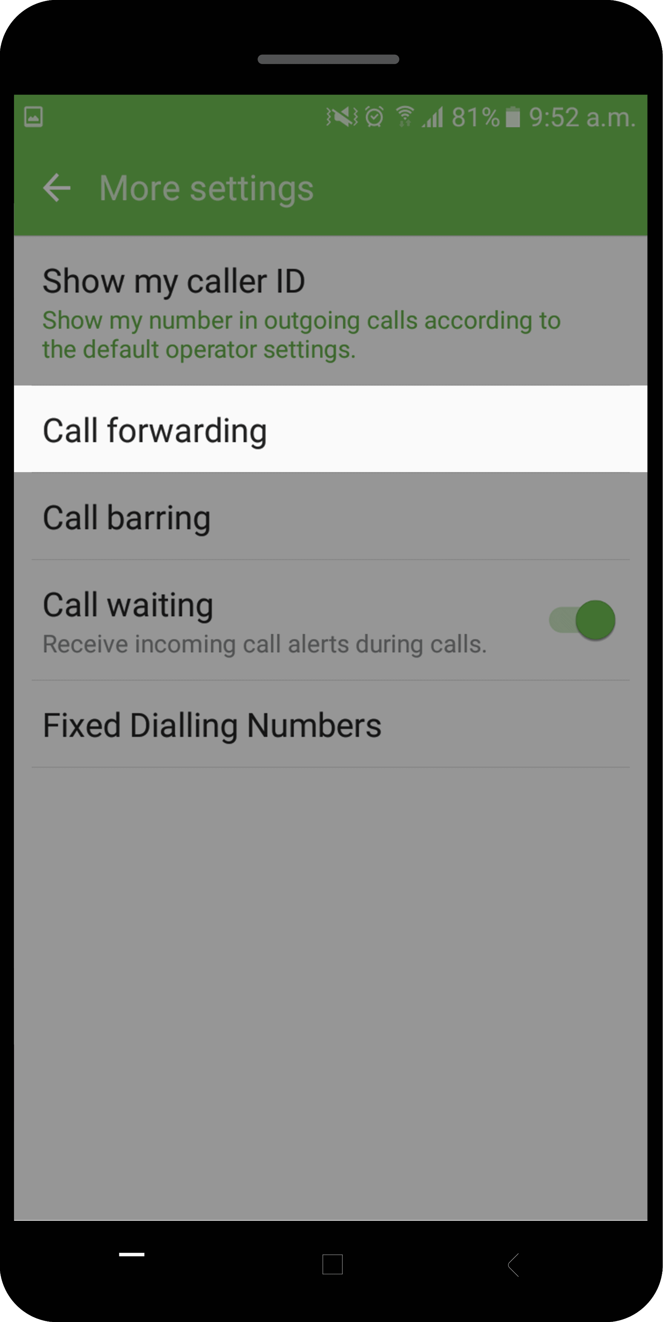 how to activate call forwarding on Android 3