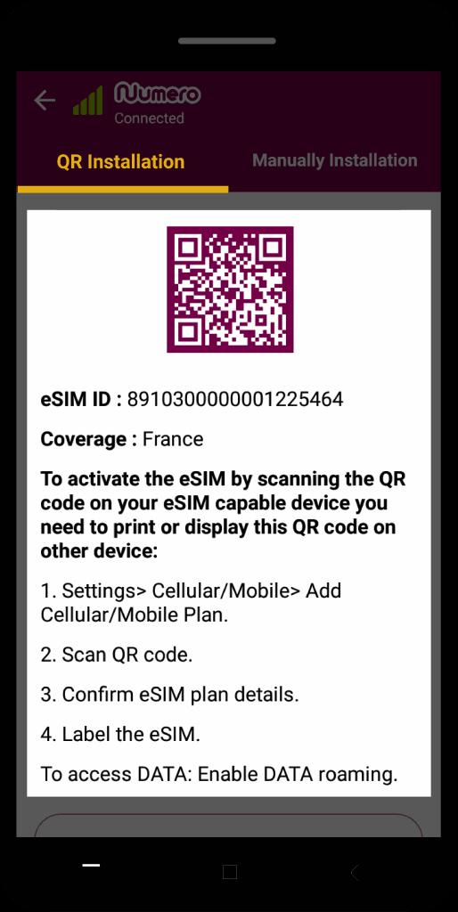 how to set up esim through QR installation