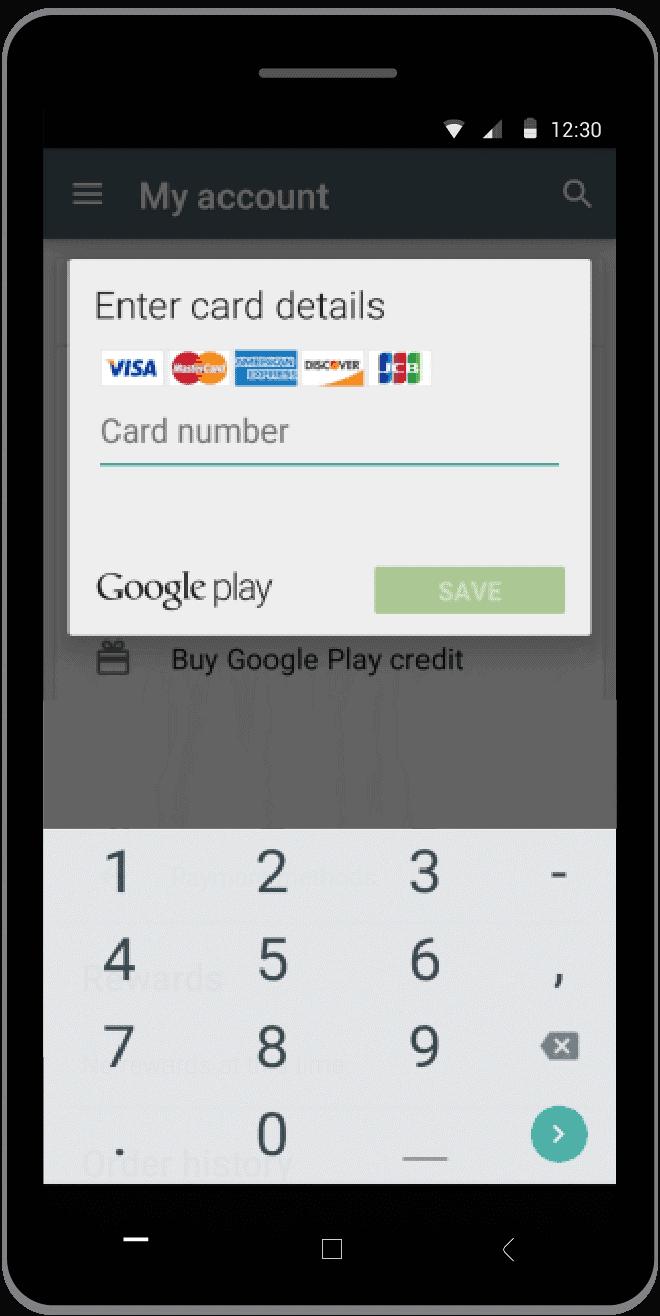 enter card details