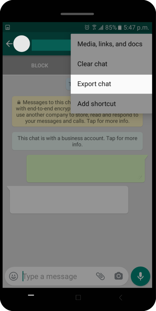 whatsapp security in exporting chats