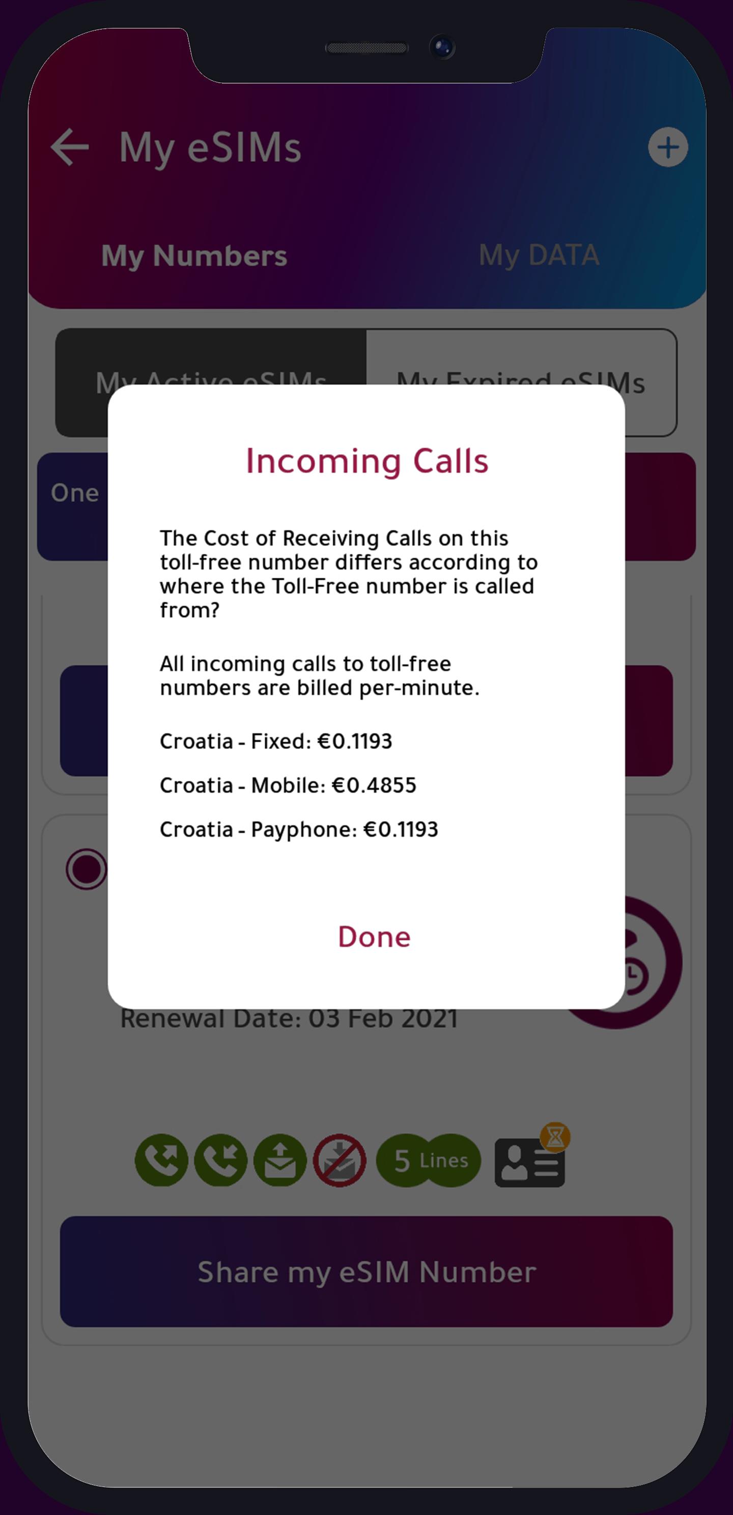 incoming calls