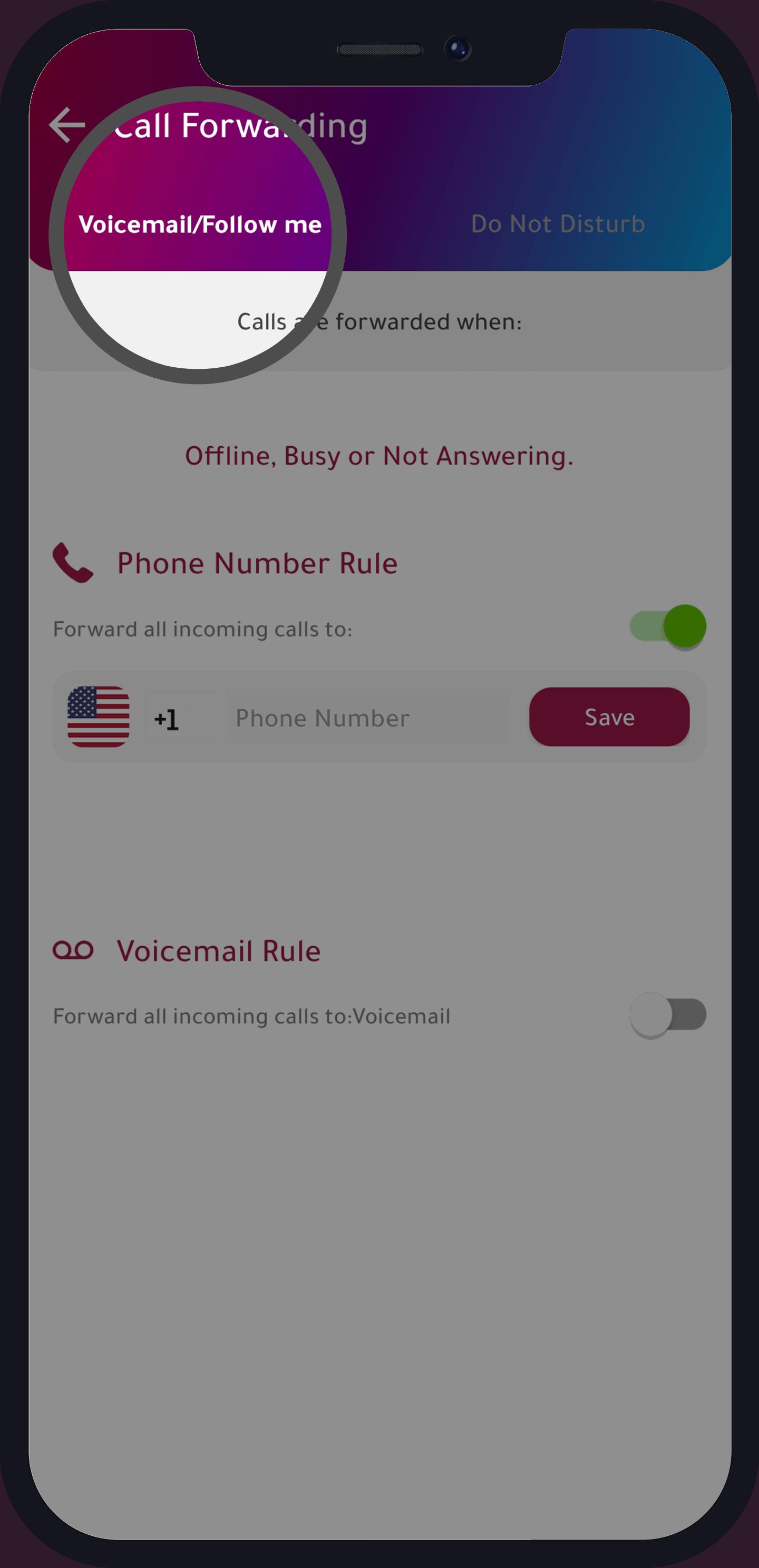 voicemail, follow me