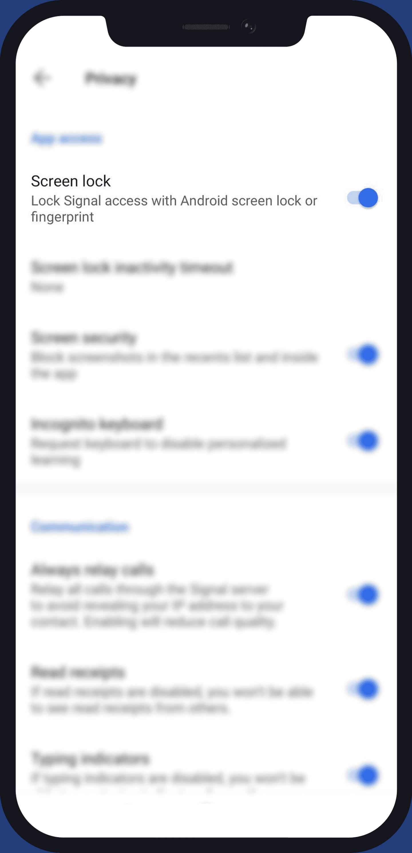 screen lock on Signal