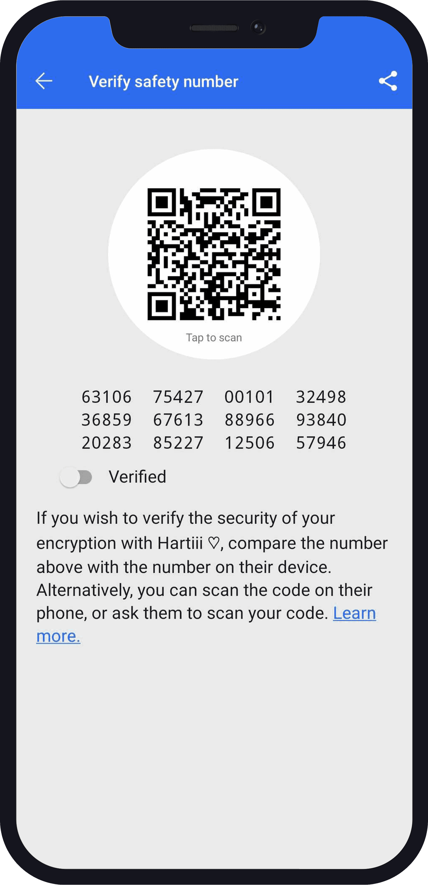 verify safety number on Signal ber