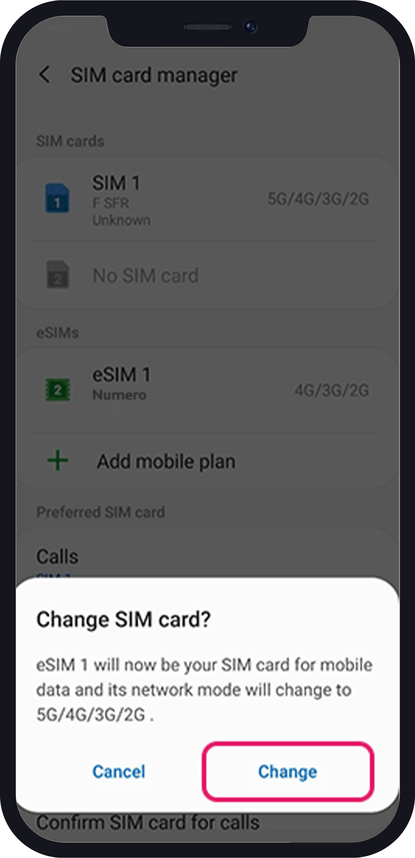 new eSIM sumsung as preferred 2